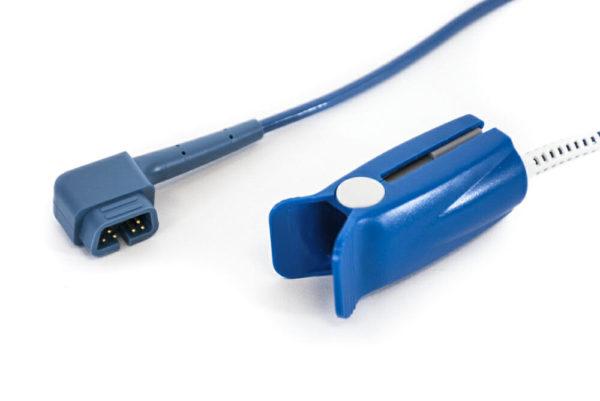 934SDN, PR-A520-1002N, B505-1002N Beta Biomed (Criticare, 90 degree, 6 pin) SPO2 ft Adult Hard Shell Sensor 3.5 ft. OEM Compatible.