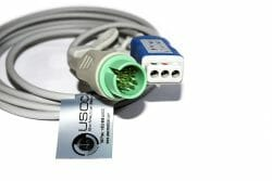 700-0008-12 Spacelabs 3 Leadwire ECG Trunk Cable, Connects with Din Leads OEM Compatible.