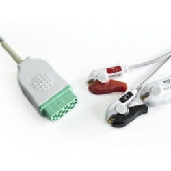 2021141-001 GE 3 Lead ECG Pinch, Grabber 11 ft Direct Connect 11 ft. OEM Compatible