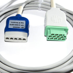 CB-715006, CBT-05NA-10CS-0001 GE 5 Leadwire ECG Trunk Cable, connect with DIN Leadwire ECGs 8 ft. OEM Compatible.