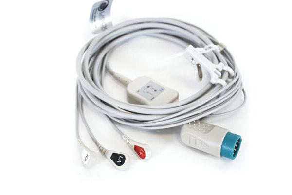 3006218-02, CB-72307R AMC Physio Control 3 Leadwire ECG Snap OEM Compatible.