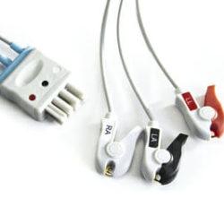 K911, BR-903PA, BR-903P Nihon Kohden 3 leadwire ECG Pinch, Grabber 3 ft. Cable OEM Compatible.