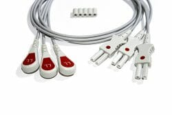 0124-0498-00 Spacelabs ECG Single Leads, Red LL/0.6M/Snap OEM Compatible.