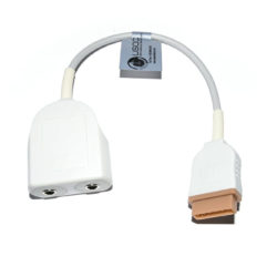 YSI400, 2016998-001 GE Marquette YSI 400 (Dual Female, Mono Plug to Rectangle, 10 Pin 1 ft) Temperature Adapter OEM Compatible.