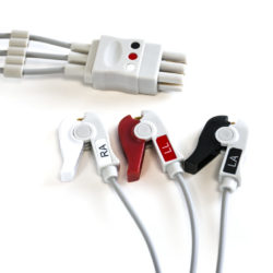Datex Ohmeda 3 Leadwire ECG Grabber, Pinch OEM Compatible. OEM Part Number: 545317-HEL